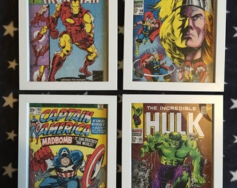SPECIAL COMBO OFFER: Avengers framed Marvel print of Captain America, Iron Man, The Hulk and Thor