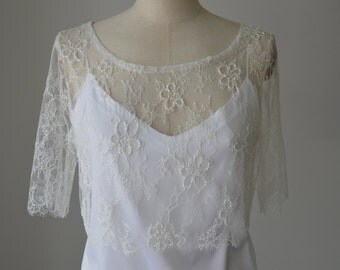 Crop top bridal ivory lace