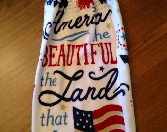 4th of July Crocheted Kitchen Towel