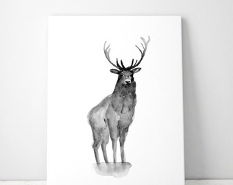 Deer Art Deer watercolor - ink drawing - Giclee print - Deer Painting Deer illustration - black Home Decor - Deer Zen Art Sumi Ink