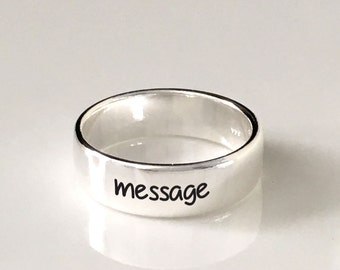 4mm and 6mm 925 Sterling Silver Band Ring/message ring /Custom Personalized Engraved ring, sterling silver/engraving inside sold separately