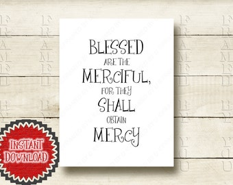 Sermon on the Mount Bible Scripture Matthew 5:7 Blessed are the Merciful, for they shall obtain Mercy Christian Beatitudes Art Print 4037D