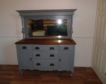 Victorian carved sideboard refurbished in gray