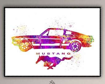 Ford Mustang Ford Mustang Watercolor art Ford Mustang Art Poster   Room Decor Classic Car Ford Mustang Decor Old Cars, Mustang Car Gift A502