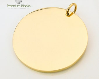 38MM Round Disk Gold Hand Stamping Blank 38MM X 2.5MM thick, Stainless Steel, stamping blanks, metal stamping, metal blanks, 10 gauge