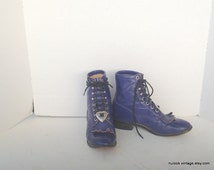 sz 4 D vintage PURPLE leather justin lace up granny combat boots