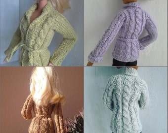 Cable cardigan, hand knit jacket, knitted sweater, Barbie, Tall Barbie, Momoko, MADE TO ORDER