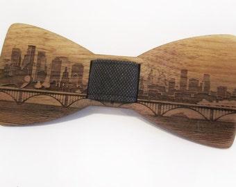 Wooden Bow Tie - TWIN CITIES Skyline - Walnut Wood - Self Tie Bow Tie For Men Formal Wear