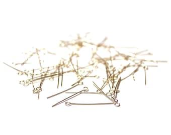100 SP Eyepins, Silver Plated Eyepins, Silver Plated Brass Eyepins, Silver Eyepins, 1 inch eyepins, 1 inch silver eye pins, 24 g Eyepins