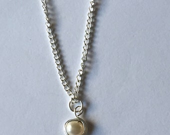 Silver Wire Wrapped White Fresh Water Pearl Necklace