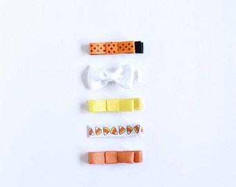 Halloween Hair Clip | Candy Corn Clip | Hair Clip for Halloween | Orange Baby Bow | Yellow Toddler Bow | Autumn Hair Clip | Hair Clip Set