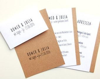 Invitation wedding - set of 3