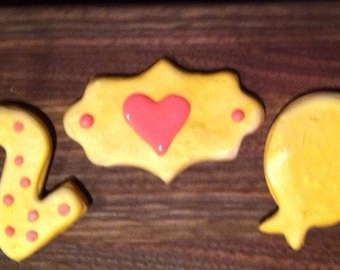 1st, 2nd or 3rd Birthday sugar cookies with monogrammed or heart plaque cookies