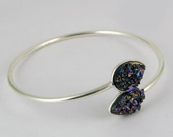 Different design !! Titanium Druzy 925 Sterling Silver Bracelet| Rainbow Color| Adjustable Bracelet