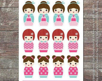 Japanese Doll 01 - Planner Stickers