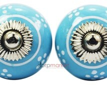 A Set of 2 Pieces  Solid Small-White-Flower On Blue Decorative Ceramic Cupboard Cabinet Door Knobs & draware Pulls