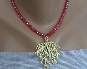 Shining Red...Crystal Red Beads & Golden Tree