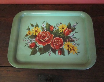 Antique Vintage Decorative Green Metal Tray with Floral Design