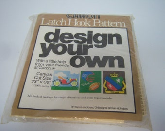 "Vintage Caron, Latch Hook Pattern, Design Your Own, Canvas Cut Size 33"" x 39"", Three Designs Included, Instructions, Cotton Canvas"