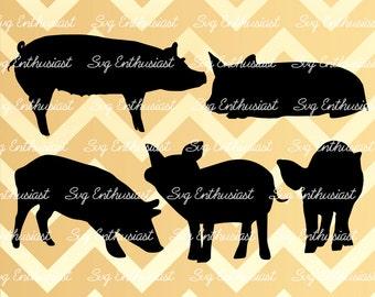 Pig silhouette SVG, Farm animals Svg, Baby pig Svg, Pig bundle SVG, Cricut, Dxf, PNG, Vinyl, Eps, Cut Files, Clip Art, Vector, Quote