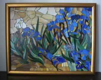 """Stained glass mosaic """"Irises"""" Vincent van Gogh Birthday gift Handmade"""
