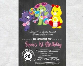 Carebears Birthday Invitation Chalkboard Chevron Pattern Carebears Invitation Care Bears Birthday Invitation