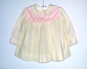 Vintage Baby Dress with Ducks Long Sleeve Color Light Yellow Size 12 months
