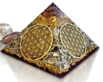 "Orgone Orgonite® Pyramid Orgone FLOWER OF LIFE ""The Source of Peace & Power"""