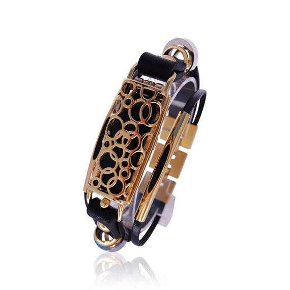 Fitbit flex leather bracelet SOMA Gold/Black - made from stainless steel and leather