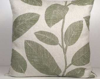 Off White and Grayish Green Cotton/Linen Blend Decorative Throw Pillow Cover with big leaves pattern,Accent Pillow,Modern Pillow,Toss Pillow