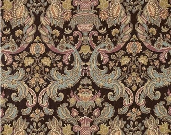 DESIGNER FRENCH COUNTRY Mediterranean Damask Toile Linen Fabric 10 Yards Brown