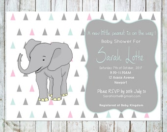 Baby shower invitation - printable, elephant, pastel triangles
