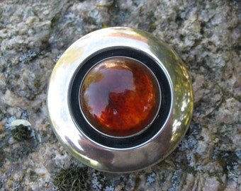 NE From Denmark Sterling Silver Modernist Brooch with Amber