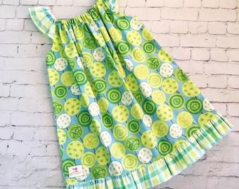 Size 4 Girls Dress, Flutter Sleeve Dress, Blue and Green Dress, Girls Dress, Birthday Dress.