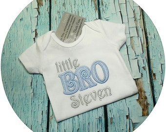 Lil Bro, Personalized Little Brother, Newborn Boy, Baby Boy, Baby Brother, Siblings Embroidery, Little Brother, Baby Shower Gift