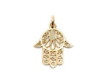 Gold plated Hamsa hand pendant