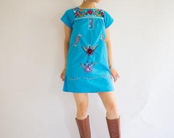 Vintage Mexican (Oaxacan) Blue Mini Dress, Size-S