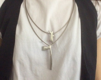 Shark&axe handmade stainless steel necklace