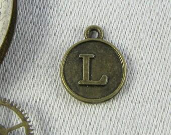 "Bronze Medallion Letter ""L"" Charm, 1 or 5 letters per package ALF012l-BZ"