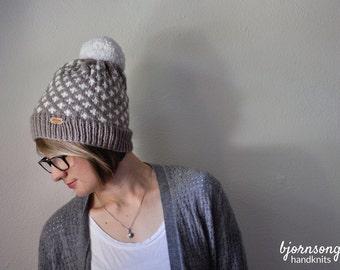 THE AFTON HAT | Beanie Hat with Pom Pom | Slouchy Beanie Hat | Handknit Hat | Custom Knit Hat | Fair Isle Knit Hat | Warm Winter Hat