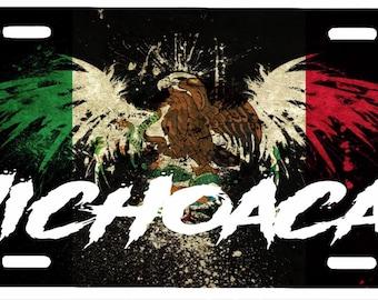 "Michoacán Mexico Aluminum License Plate Placa  6"" x 12"""