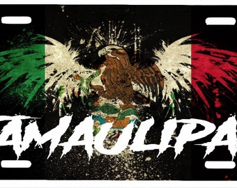 "Tamaulipas  Mexico Aluminum License Plate Placa  6"" x 12"""