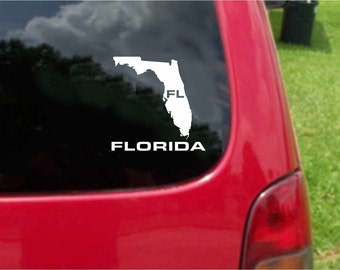 2 Pieces Florida FL  State USA Outline Map Stickers Decals 20 Colors To Choose From.  U.S.A Free Shipping