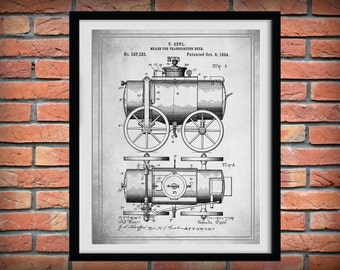 Patent 1894 Beer Wagon - Art Print Poster - Wall Art - Bar Room - Man Cave - Sports Bar Art - Beer Making Process - Invention