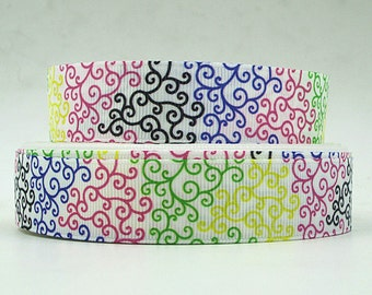 7/8 inch LIME, YELLOW, Hot PINK, Black and Purple Swirls On White- S567 Printed Grosgrain Ribbon for Hair Bow