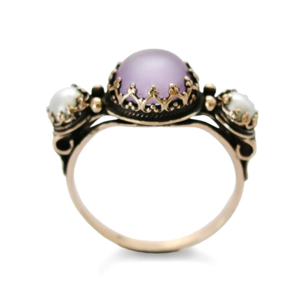 purple gold ring handmade gold ring matte purple