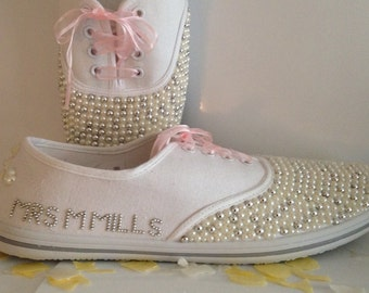 Wedding Bridal Hand Embellished Personalised Canvas Plimsolls Pumps Shoes. UK Sizes 3-8