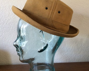 Vintage Tan Canvas Fedora Style Hat No Identifiable Manufacture Size Small