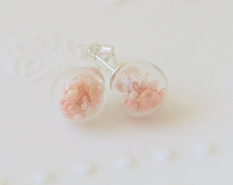 Glass Ball Earrings Preserved Pink Gypsophila Snowflake