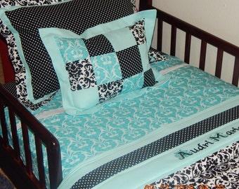 Custom Bedding - Toddler - Black, White, and Aqua Damask and Polka Dots